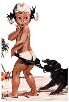 The Coppertone Girl & puppy. I grew up with this image.
