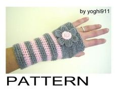 Crochet Free Pattern Fingerless Gloves   Pdf Pattern - Hand Warmers - Fingerless Gloves Mittens - Pink E Grey by rosanne