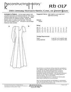 RH017 — 14th century Women's Kirtle or Cotehardie or Medieval Dress – Reconstructing History