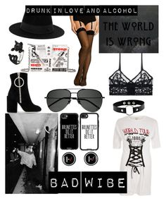 """""""Drunk in love and alcohol"""" by e-rakosi on Polyvore featuring Mode, Kenzo, River Island, Wolford, ELSE, Maison Michel, Casetify, Off-White und Yves Saint Laurent"""