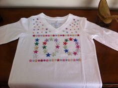 100th Day of School Shirt made using 100 stars :)