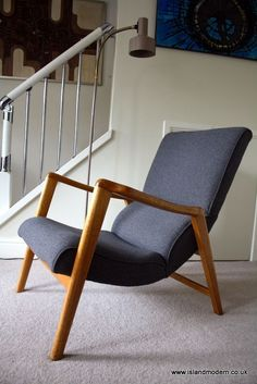 Vintage 1950s E Gomme G Plan Mid Century Grey Wool Sculptural Lounge Arm Chair