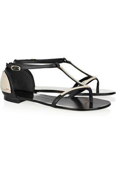 GIUSEPPE ZANOTTI Metal-plated leather sandals