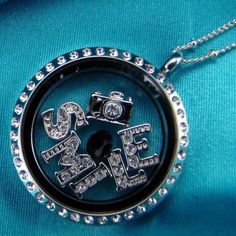 Large Silver Locket with crystals - photography locket with SMILE letters in silver with crystals from Origami Owl