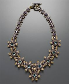 Fleur de Vigne Necklace Kit, gold and purple from www.justletmebead.com