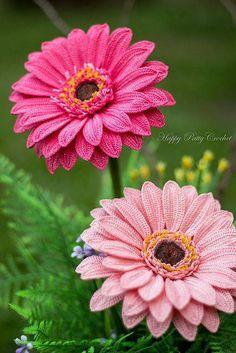 flores de croche geranio rosa