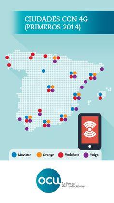 Las redes 4G (navegar más rápido con el móvil) han tardado mucho en llegar a España, pero ya empiezan a desplegarse. Estos son los lugares y los operadores con cobertura 4G a comienzos del año 2014.