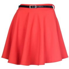 Pillarbox Red Belted Skater Skirt (63 RON) ❤ liked on Polyvore featuring skirts, bottoms, saias, faldas, jupes, denim skirt, skater skirt, floral print skirt, floral pleated skirt and red pencil skirt