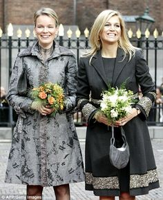Princess Mathilde of Belgium and Princess Maxima of the Netherlands at the opening of the exhibition Rubens and Brueghel in The Hague in October 2006