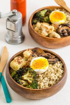 Parmesan Barley Bowl with Roasted Broccoli and Soft-boiled Egg