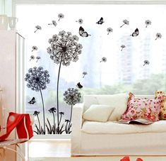 [Visit to Buy] [Fundecor] hot sale DIY black dandelion flower butterfly art wall decor decals mural decorations pvc wall stickers home decor Removable Wall Stickers, Wall Stickers Home Decor, Wall Stickers Murals, Wall Murals, Wall Art Decor, Sticker Vinyl, Window Stickers, Wall Stickers Dandelion, Dandelion Nursery