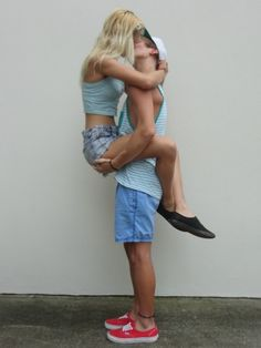 Blonde Girl Kissing Guy