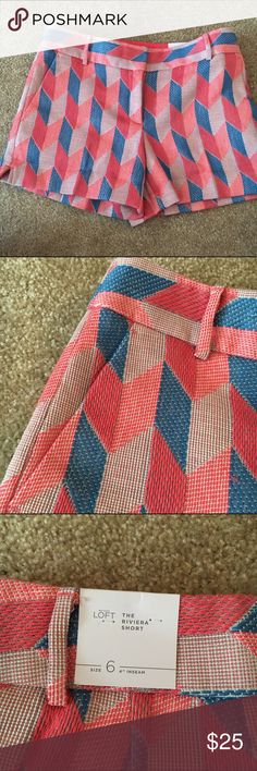 """Loft Chevron Sparkle Riviera Shorts 4"""" Inseam Beautiful NWT chevron retro shorts from Ann Taylor Loft. Slightly shiny, thick and well tailored. Feature a geometric pattern in pink, blue and coral. 4 inch inseam. Size 6. Fit true to size for Loft shorts. Very small amount of stretch to this fabric. I purchased these at the beginning of the season and then proceeded to lose just enough weight so that they no longer fit. 😕 But my loss is your gain! LOFT Shorts"""