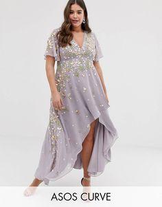 6d1fd64e2d7f DESIGN Curve dipped hem maxi dress with 3D embellishment and ruffle sleeve