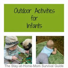 Crafts For Infants These are so simple to do! A great resource list and totally appropriate for infant development. Ideas for outdoor activities for infants from 2 months old and up-great ideas for moms of infants to try at home. Outside Activities, Outdoor Activities For Kids, Outdoor Learning, Infant Activities, Summer Activities, Learning Activities, Outdoor Play, Infant Sensory, Toddler Play