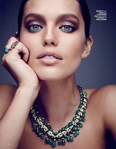 Getting her closeup, Emily DiDonato models Verdura necklace and Plukka rings