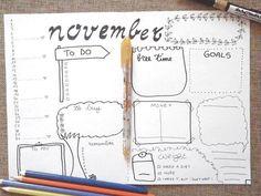 november bullet journal monthly journaling calendar planner