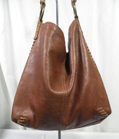 LUCKY BRAND Whipstitch Brown Leather Vintage Inspired Hobo Bag ...