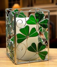 Irish Candle Holder Celtic with Shamrocks Stained Glass and Metal with LED Flameless Dripping Wax Pillar Candle 6 Inch Banberry Designs Glass Painting Patterns, Glass Painting Designs, Stained Glass Paint, Stained Glass Projects, Celtic Stained Glass, Glass Bottle Crafts, Bottle Art, Painted Glass Vases, Glass Candle Holders
