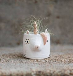The most sophisticated, MAGICAL, highly intelligent unicorn planter you could possibly need. These cuties are the perfect addition to your happy home. -2-3 inches tall -Comes with air plant and rocks (neither made by me) -Hand made from start to finish! -Body hand-built with clay slabs; ears, hair, tail, and twisty horn formed/pinched by hand -Hand-glazed, hand-embellished (monocle!) with real gold -Body is white -This item is handmade. Please understand that no two look the same. It wil...