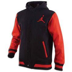 Jordan Varsity Hoodie - Boys' Grade School - Black/Varsity Red $59.99
