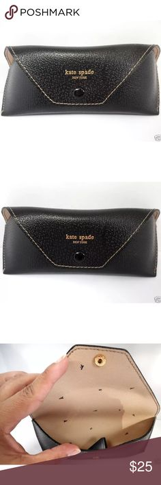 "KATE SPADE Leather Glasses/Sunglasses Case Holder KATE SPADE Black Leather Glasses/Sunglasses Case Holder - GREAT!  This Kate Spade case is perfect for glasses or sunglasses. Snap button closure. Size: Large 6.5"" x 2.5"" x 2""  No marks or dents. No damages. Light wear, very gently used. Smoke-free home. If you have questions please ask. kate spade Accessories Glasses"