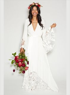 Like the IDEA of flowers in hair for color, and love the bouquet! Keep the dress  50 Beautiful Long Sleeve Wedding Dresses