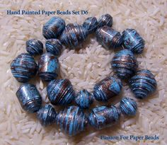 Hand Painted Paper Beads  Set D6   by PassionForPaperBeads on Etsy