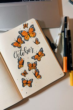 october butterfly bullet journal theme october butterfly bullet journal theme monarch butterfly themed cover page for my bullet journal! Bullet Journal Cover Ideas, Bullet Journal Cover Page, Bullet Journal Banner, Bullet Journal Notebook, Bullet Journal School, Bullet Journal Spread, Bullet Journal Ideas Pages, Bullet Journal Layout, Journal Covers