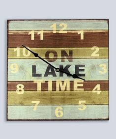 Another great find on #zulily! 'On Lake Time' Square Wall Clock #zulilyfinds
