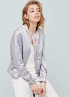 Satin bomber jacket - Jackets for Women | MANGO USA