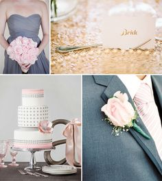 pink grey gold wedding