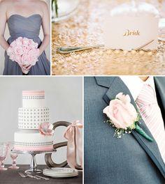 pink grey gold wedding