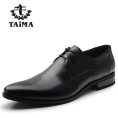 Fashion 100% Genuine Leather Men Dress Shoes Luxury Men's Business Casual Shoes Classic Gentleman Shoes Brand TAIMA 38-45