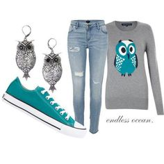 Super duper cute and funny thing I have a pair of skinny jeans almost just like those and an owl shirt thats grey and mint green and myom has those converse amd I dont have those owl ear rings but I think that outfit also looks cute with my brown ugg boots