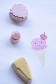 """Handgeschnitztes Stempelset mit Eis / handcrafted stamp set """"ice cream"""" by Aure-und-En via DaWanda.com"""