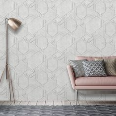 Add a stylish touch to any room with this grey geometric wallpaper from the Prisme Wallpaper Collection. Available at Go Wallpaper UK. Brick Effect Wallpaper, Wallpaper Uk, Luxury Wallpaper, Contemporary Wallpaper, Glitter Wallpaper, White Wallpaper, Geometric Wallpaper, Little Greene Paint, Stunning Wallpapers