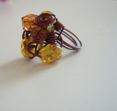 amber bead ring, amber jewelry, hand made ring for gift on Etsy, $9.50