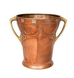 Albin Müller, wine cooler, c. 1904, copper and brass, manufactured by Eduard Hueck,  H. 26.5 cm