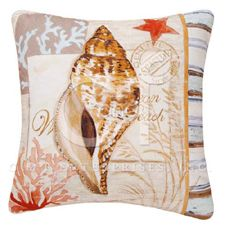 Shell & Star Canvas Throw Pillow
