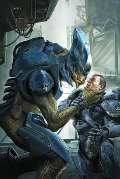 Spartan IV Thorne(Fireteam Majestic)  is engaged in CQB with a Storm Covenant Elite.