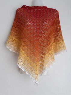 Dreieckstuch im Feuerfarben - Handgemachte Sachen Crochet Top, Handmade, Tops, Women, Fashion, Colorful Scarves, Nice Things, Fire, Handarbeit