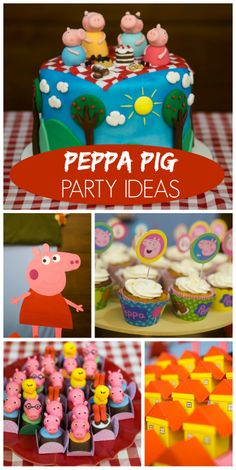 Check out this Peppa Pig girl birthday party with fun party decorations… 1st Birthday Boy Themes, Pig Birthday, 4th Birthday Parties, Birthday Ideas, Fiestas Peppa Pig, Cumple Peppa Pig, Pig Party, Baby Party, Childrens Party