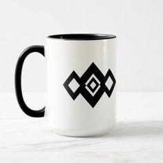 Geometric Abstract Black and White Diamonds Mug  $20.60  by Merry_Wrinkle  - cyo customize personalize diy idea