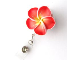 Apricot Plumeria  Nurses Week Gifts Retractable Badge Reels Flower Badge Holders by BadgeBlooms, $10.00
