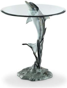 Surfacing dolphin end table - beach style - side tables and end tables - by spi Coastal Furniture, Coastal Decor, Living Room Furniture, Glass End Tables, Side Tables, Beach Gifts, Beach House Decor, Room Themes, Elle Decor