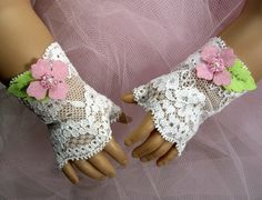 Pink Flowers FINGERLESS LACE GLOVES for American Girl Dolls White Valentine's Day Easter Cecile Elizabeth Felicity