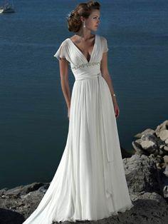 Discount V-neck Empire Waist Customer-Made Design Beach Wedding Dress With Short Chiffon [FXMUXDYR] - $126.28 : 200Shop.com