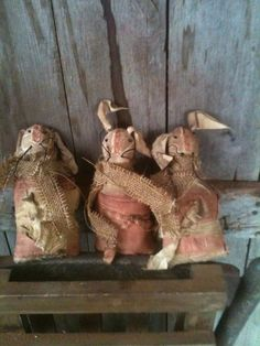 Primitive Gathering of grubby Bunny Rabbit cupboard cabinet dolls feed sack prim #NaivePrimitive