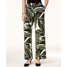 Alfani Petite Printed Elastic-Waist Pants, Created for Macy's ($70) ❤ liked on Polyvore featuring pants, mlr graphic botanic, stretch pants, white wide leg pants, shiny pants, colorful pants and white stretch pants